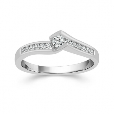 10k White Gold 1/4ctw Bypass Style Engagement Ring