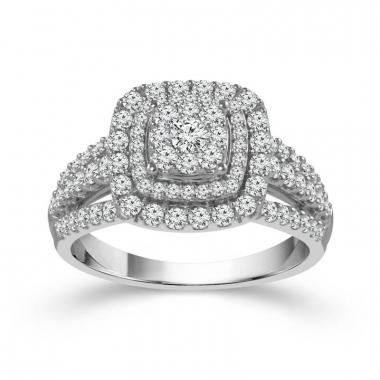 10k White Gold 1ctw Double Halo Style Diamond Engagement Ring