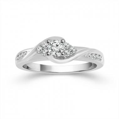 10k White Gold 3/8ctw Diamond Engagement Ring