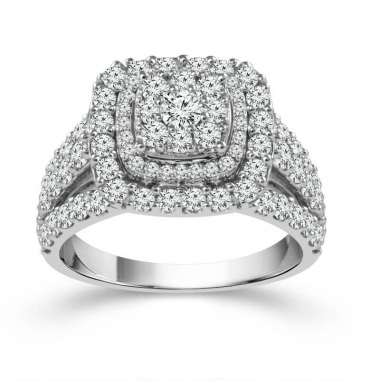 14k White Gold 3ctw Double Halo Style Engagement Ring