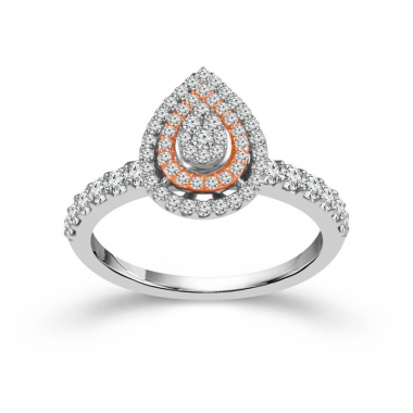 10k Two Tone 5/8ctw Pear Shaped Double Halo Style Diamond Engagement Ring