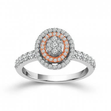 10k Two Tone 5/8ctw Double Halo Style Diamond Engagement Ring