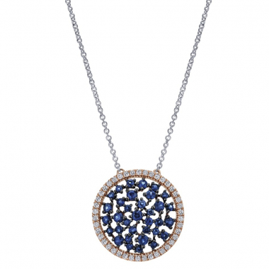 14K White & Rose Gold Sapphire Cluster Necklace