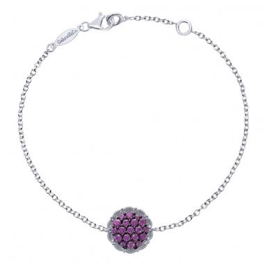 Sterling Silver Red Stone Cluster Fashion Bracelet