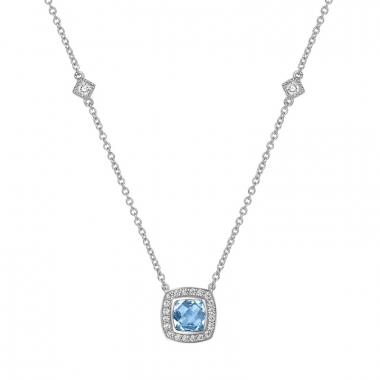 Sterling Silver Blue Topaz Fashion Aria Necklace