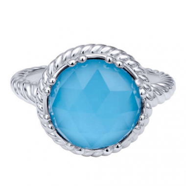 Sterling Silver Light Blue Stone Fashion Ring