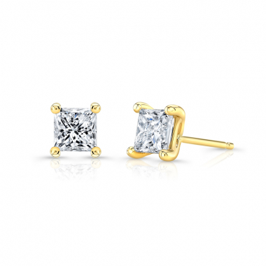 14K Yellow Gold 1-1/4ctw ECO4 Lab Grown Diamond Princess Solitaire Earrings