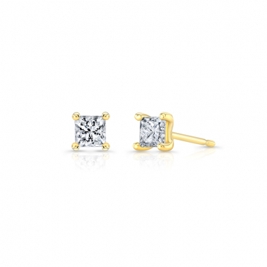 14K Yellow Gold 3/8ctw ECO4 Lab Grown Diamond Princess Solitaire Earrings