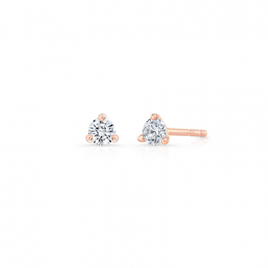 14K Rose Gold 1/7ctw ECO4 Lab Grown Diamond Solitaire Earrings