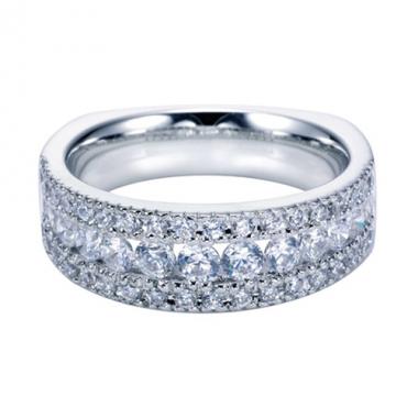 14K White Gold Triple Row Diamond Wedding Band