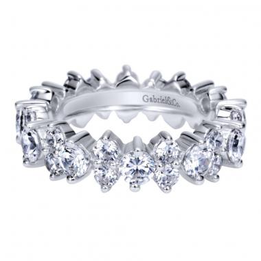 14K White Gold Straight Diamond Eternity Band