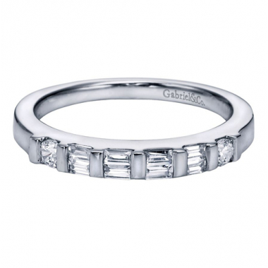 14K White Gold Baguette and Round Wedding Band