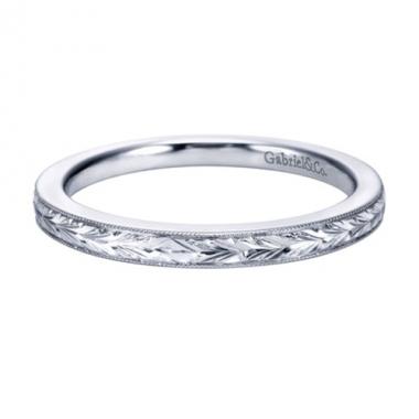14K White Gold Engraved Milgrain Edge Wedding Band