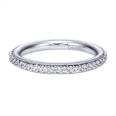 14K White Gold Detailed Channel Eternity Band