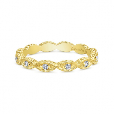 14K Yellow Gold Woven Diamond Stackable Ring
