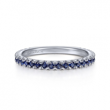14K White Gold Blue Sapphire Stackable Ring