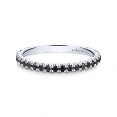 14K White Gold Black Diamond Stackable Ring
