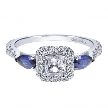 14k White Gold Diamond and Sapphire Square Halo Engagement Ring