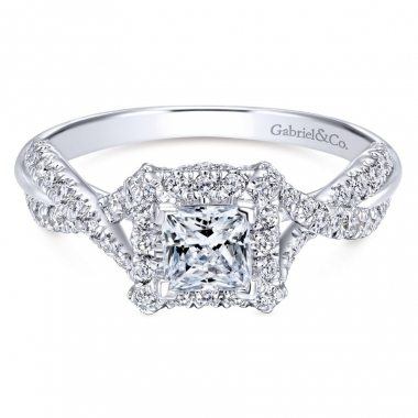 14k White Gold Diamond Square Halo and Twist Style Engagement Ring