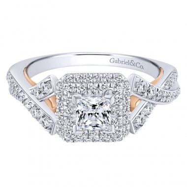 14k Two Tone Diamond Double Halo and Twist Style Engagement Ring