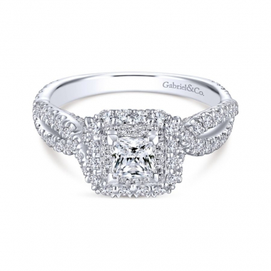 14k White Gold Diamond Double Halo and Twist Style Engagement Ring