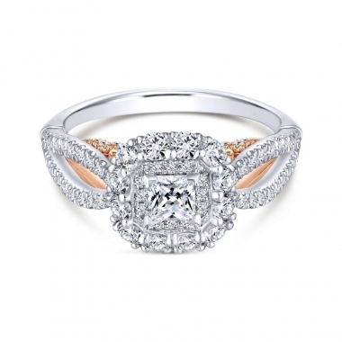 14k Two Tone Diamond Double Halo and Split Shank Engagement Ring