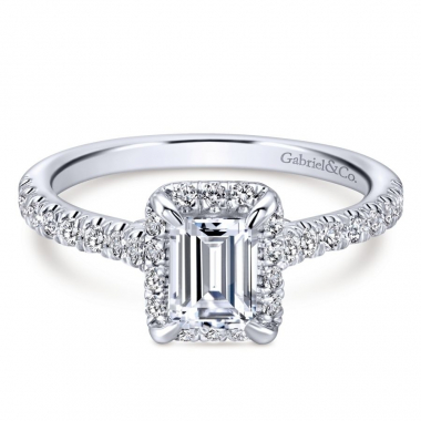 14k White Gold Diamond Emerald Halo Engagement Ring