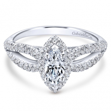 14k White Gold Diamond Marquis Halo and Split Shank Engagement Ring