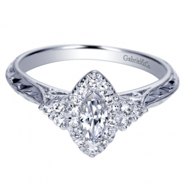 14k White Gold Vintage Inspired Diamond Marquis Halo Engagement Ring