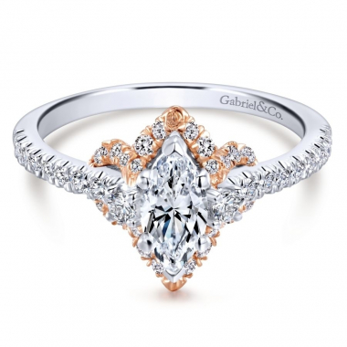 14k Two Tone Diamond Marquis Halo Engagement Ring