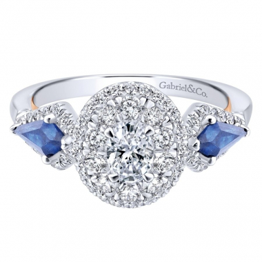 14k Two Tone Diamond and Sapphire Oval Double Halo Engagement Ring