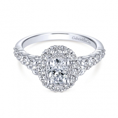 14k White Gold Diamond Oval Double Halo Engagement Ring