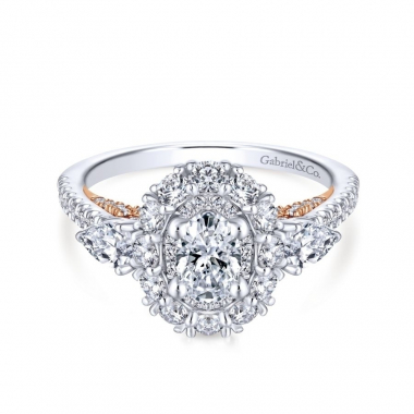 14k Two Tone Diamond Oval Double Halo Engagement Ring