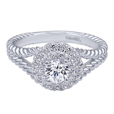 14k White Gold Diamond Double Halo and Rope Style Engagement Ring