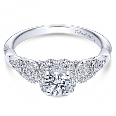 14k White Gold Diamond Halo and Twist Style Engagement Ring