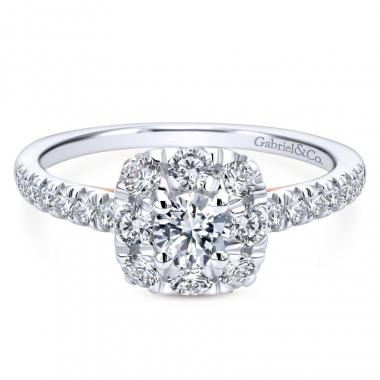 14K Two Tone Diamond Square Halo Engagement Ring