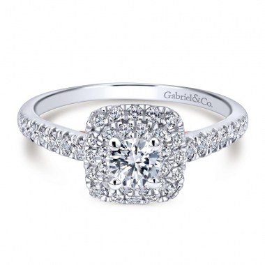 14k Two Tone Diamond Square Double Halo Engagement Ring