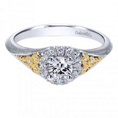 14k Two Tone Diamond Halo Engagement Ring