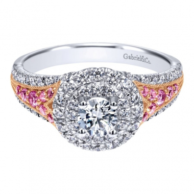 14k Two Tone Diamond and Sapphire Double Halo Engagement Ring
