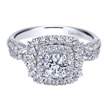 14k White Gold Diamond Square Double Halo and Twist Style Engagement Ring