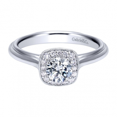 14k White Gold Vintage Inspired Diamond Square Halo Engagement Ring