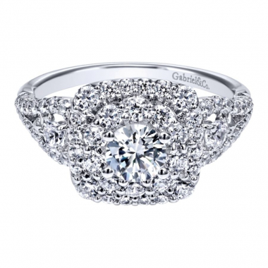 14k White Gold Diamond Square Double Halo and Split Shank Engagement Ring