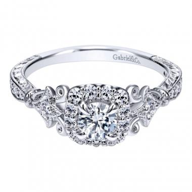 14k White Gold Art Deco Inspired Diamond Square Halo Engagement Ring