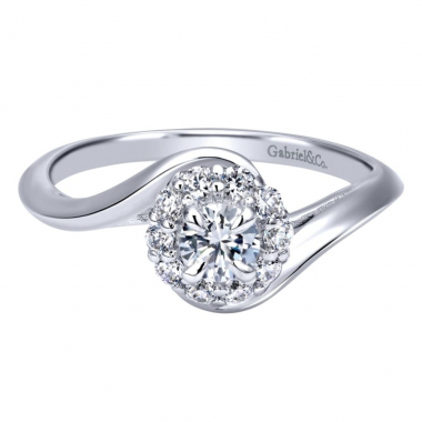14k White Gold Diamond Halo and Bypass Style Engagement Ring