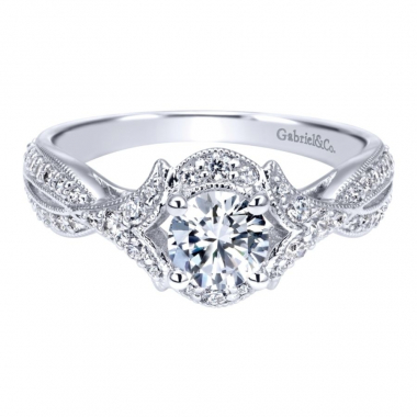 14k White Gold Vintage Inspired Diamond Halo and Twist Style Engagement Ring