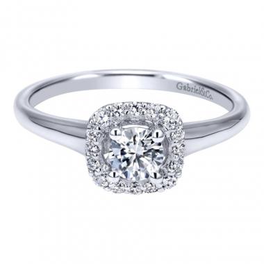 14k White Gold Diamond Square Halo Engagement Ring
