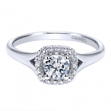 14k White Gold Diamond Square Halo and Split Shank Engagement Ring