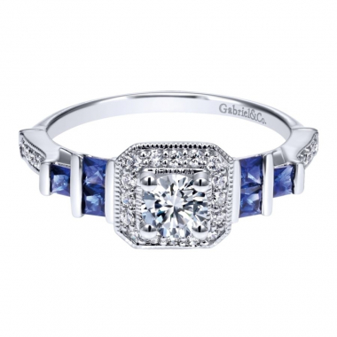 14k White Gold Art Deco Inspired Diamond Halo and Sapphire Engagement Ring