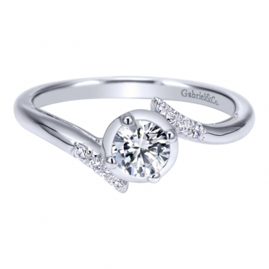 14k White Gold Modern Halo and Diamond Bypass Style Engagement Ring