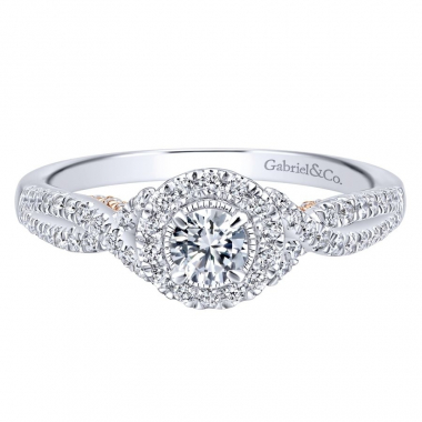 14k Two Tone Diamond Halo and Twist Style Engagement Ring